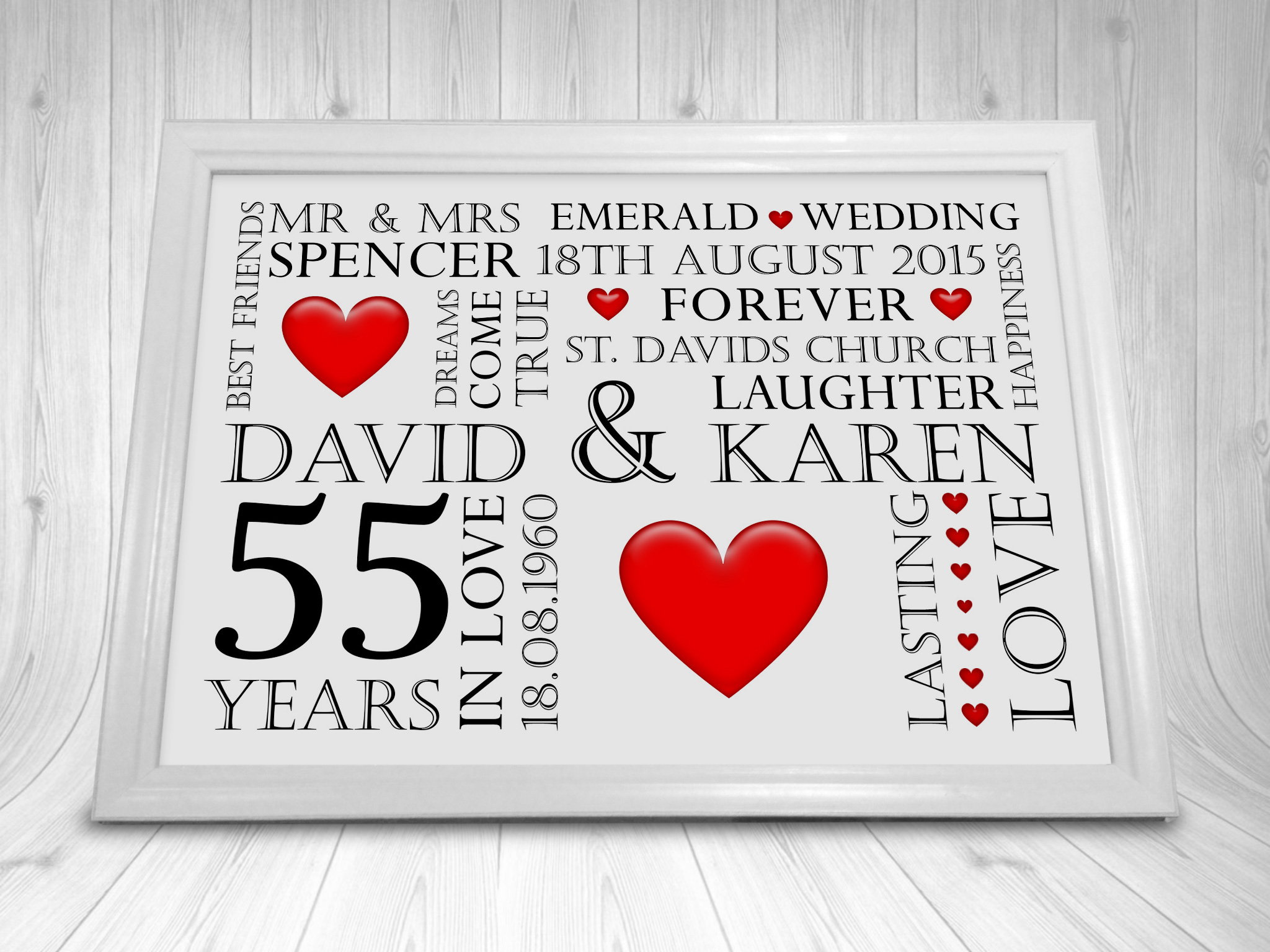 Personalised Pearl 30th Wedding Anniversary Gift Year Print Picture CL