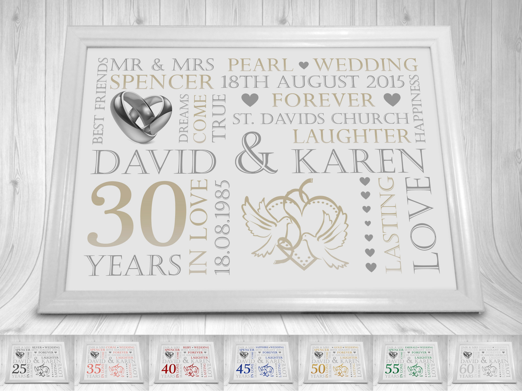 Wedding Anniversary Gift Print Personalised A4 25th 30th 35th 40th ...